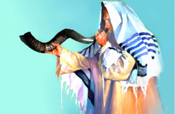 A beautiful painting of a Jewish priest blowing the shofar (ram's horn) for Yom Kippur.